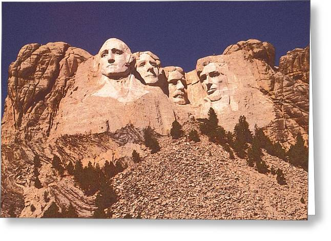 Thomas Jefferson Drawings Greeting Cards - Mount Rushmore Red Greeting Card by Peter Fine Art Gallery  - Paintings Photos Digital Art