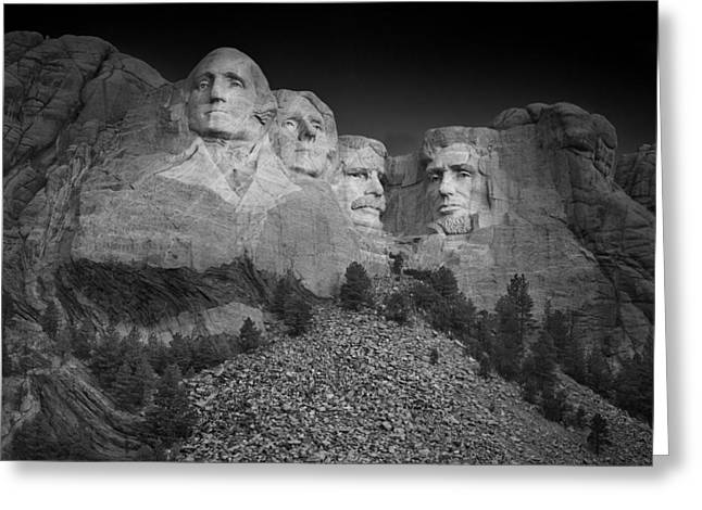 Jefferson Greeting Cards - Mount Rushmore South Dakota Dawn  B W Greeting Card by Steve Gadomski