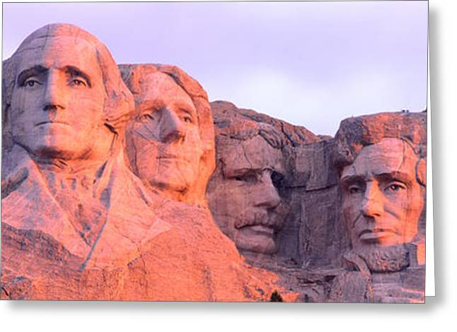 Presidential Photographs Greeting Cards - Mount Rushmore, South Dakota, Usa Greeting Card by Panoramic Images