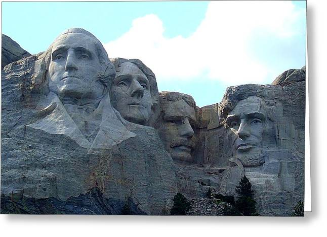 Gutzon Greeting Cards - Mount Rushmore US Presidents Greeting Card by Reid Callaway
