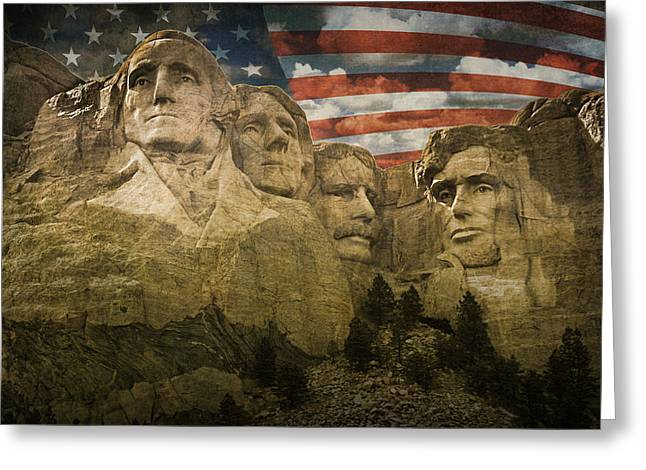 Jefferson Memorial Photographs Greeting Cards - Mount Rushmore with the Stars and Stripes Greeting Card by Randall Nyhof