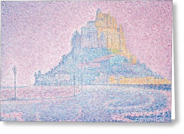 Pointillist Paintings Greeting Cards - Mount Saint Michel Fog and Sun Greeting Card by Paul Signac