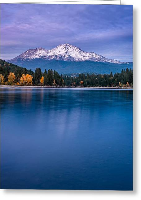 Reflections On Snow Greeting Cards - Mount Shasta at Dusk Greeting Card by Greg Nyquist