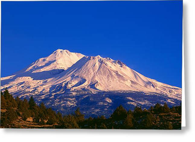 Winterscape Greeting Cards - Mount Shasta At Sunrise, California Greeting Card by Panoramic Images