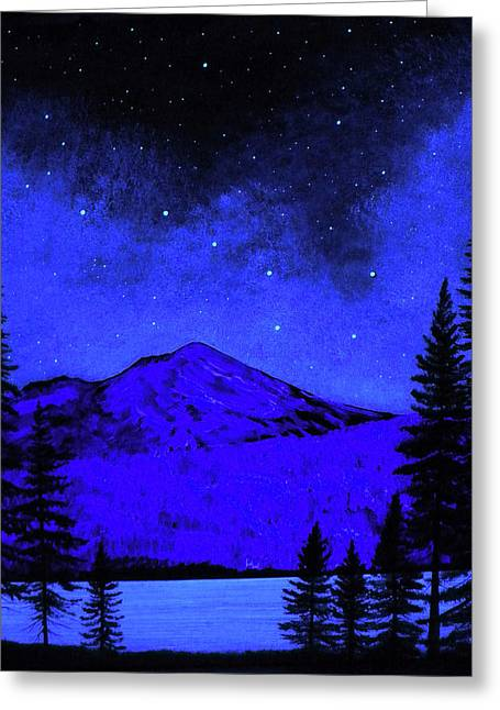Glow Murals Greeting Cards - Mount Shasta in Starlight Greeting Card by Frank Wilson
