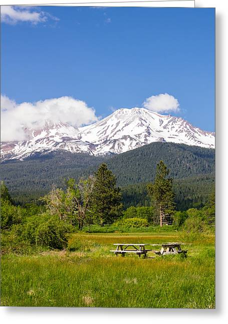 Pastureland Greeting Cards - Mount Shasta picnic Greeting Card by John Trax