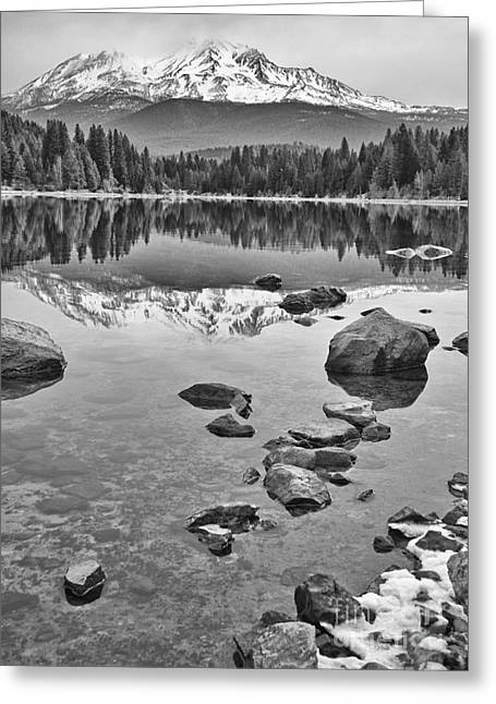 Mt. Shasta Greeting Cards - Mount Shasta Reflection Greeting Card by Jamie Pham