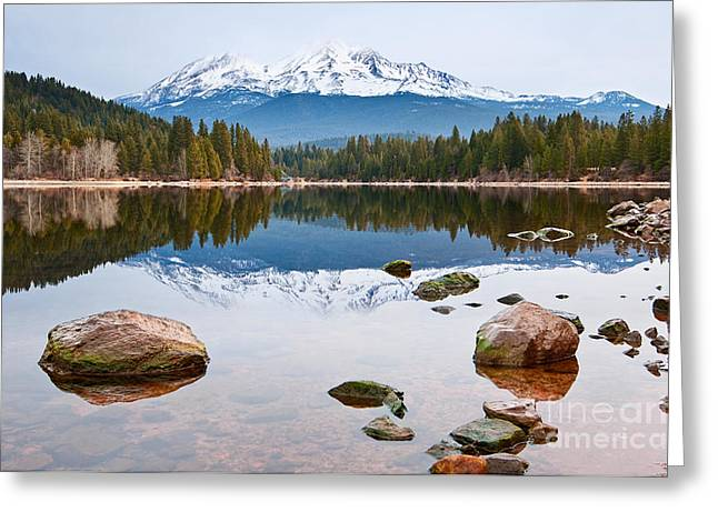 Mt. Shasta Greeting Cards - Mount Shasta Reflection - Lake Siskiyou in California with reflections. Greeting Card by Jamie Pham