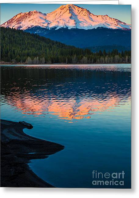 California Lakes Greeting Cards - Mount Shasta Sunset Greeting Card by Inge Johnsson