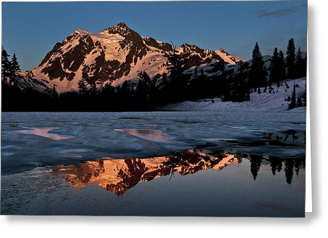 Super Volcano Greeting Cards - Mount Shuksan Colors Greeting Card by Paul Conrad