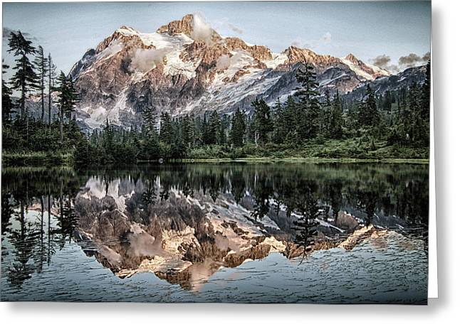 Wilderness Pyrography Greeting Cards - Mount Shuksan Greeting Card by Jesse Aaron
