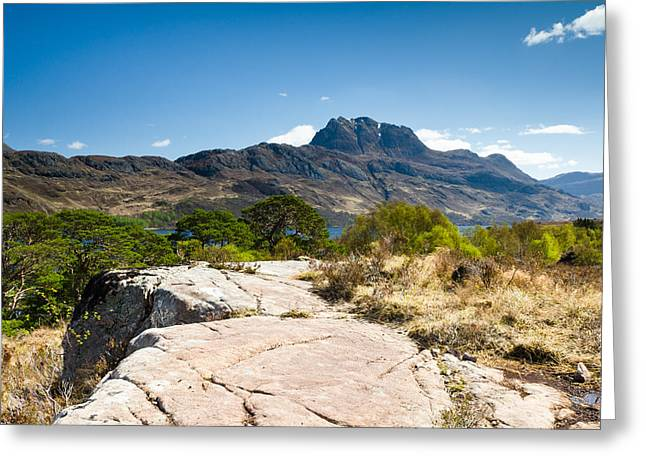 Slioch Greeting Cards - Mount Slioch   Greeting Card by David Head