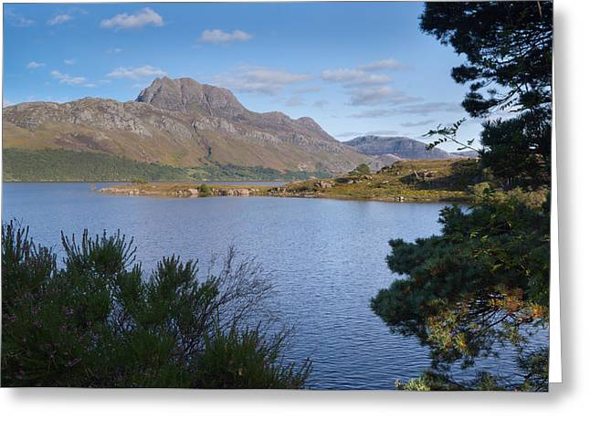 Slioch Greeting Cards - Mount Slioch and loch Maree Greeting Card by David Head