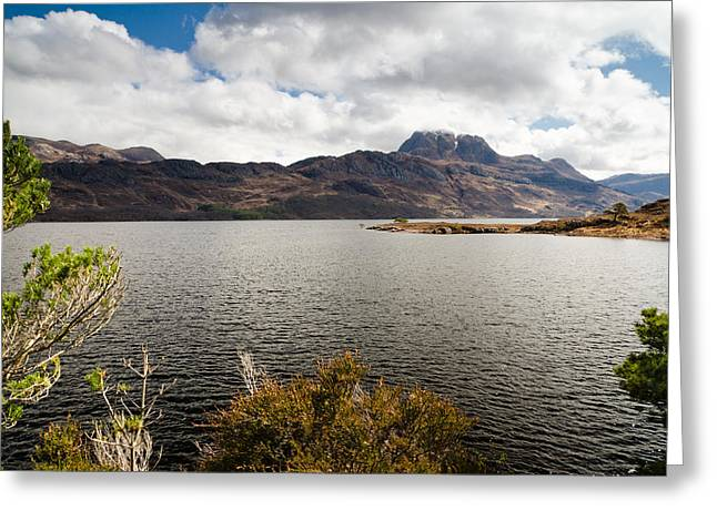 Slioch Greeting Cards - Mount Slioch Framed above Loch Maree Greeting Card by David Head
