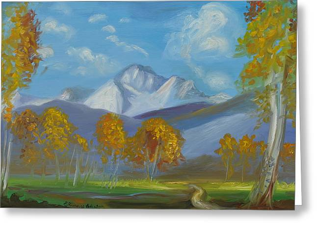 League Paintings Greeting Cards - Mount Sneffels San Juan Mountains Colorado Greeting Card by Patricia Kimsey Bollinger