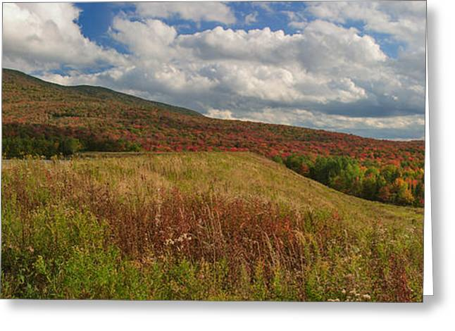 New England Snow Scene Greeting Cards - Mount Snow Panorama Greeting Card by Charles Kozierok