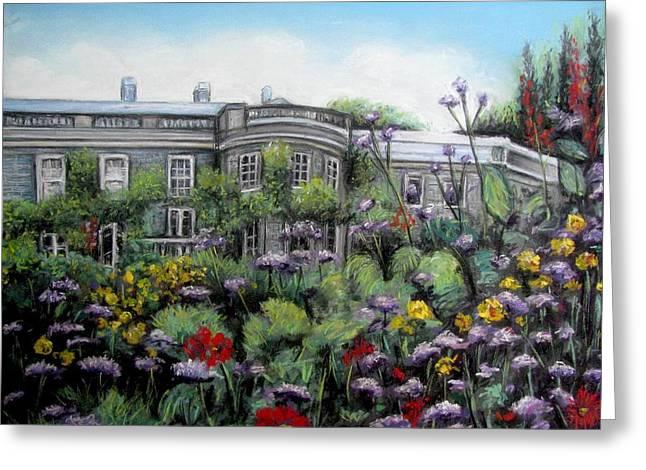 Garden Scene Pastels Greeting Cards - Mount Stewart House in Ireland Greeting Card by Melinda Saminski