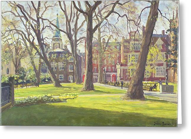 Telephone Box Greeting Cards - Mount Street Gardens, London Oil On Canvas Greeting Card by Julian Barrow