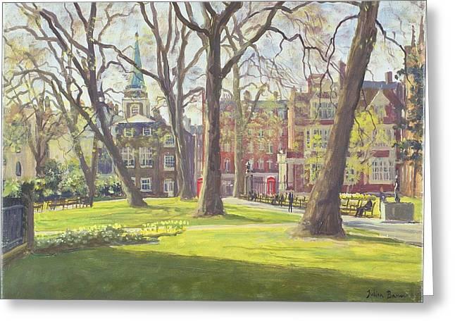 Garden Scene Photographs Greeting Cards - Mount Street Gardens, London Oil On Canvas Greeting Card by Julian Barrow