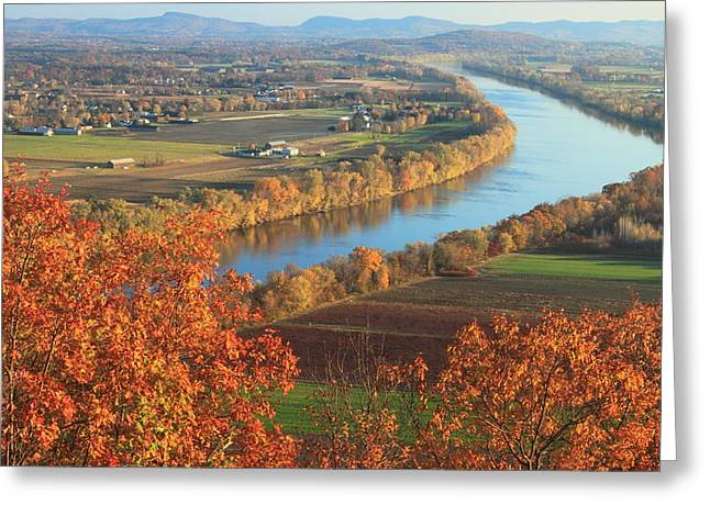 Deerfield River Greeting Cards - Mount Sugarloaf Connecticut River Autumn Greeting Card by John Burk