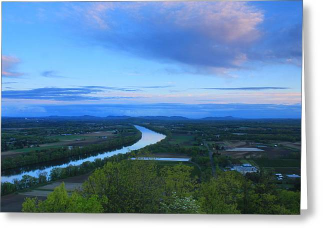 Deerfield River Greeting Cards - Mount Sugarloaf Connecticut River Spring Evening Greeting Card by John Burk