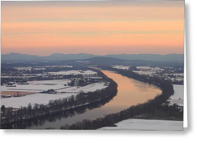 Connecticut River Greeting Cards - Mount Sugarloaf Connecticut River Winter Sunset Greeting Card by John Burk