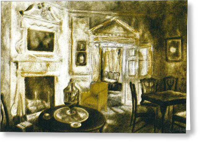 Table And Chairs Drawings Greeting Cards - Mount Vernon Ambiance Greeting Card by Kendall Kessler