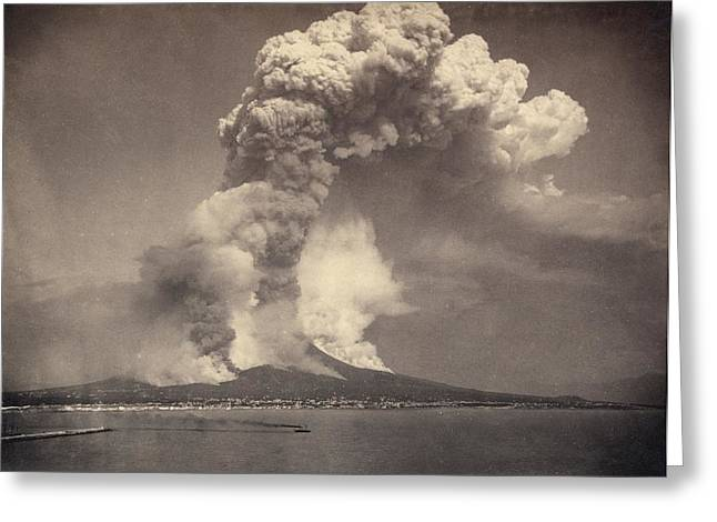 Vulcanology Greeting Cards - Mount Vesuvius eruption, 1872 Greeting Card by Science Photo Library