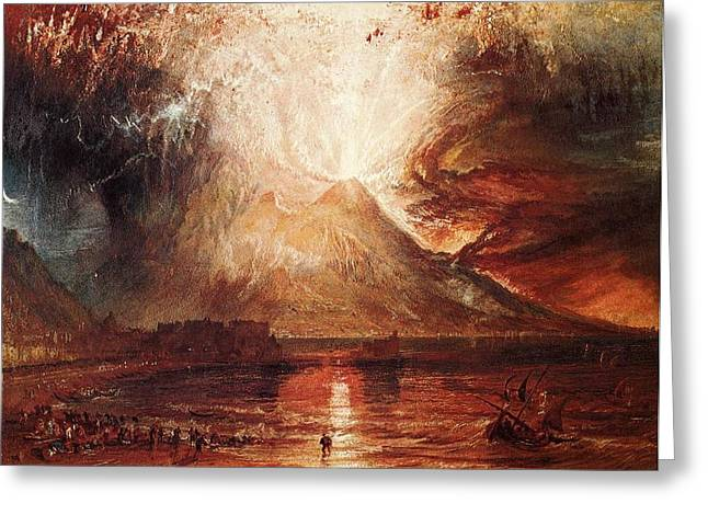 Jmw Greeting Cards - Mount Vesuvius in eruption 1817 Greeting Card by Joseph Mallord William Turner