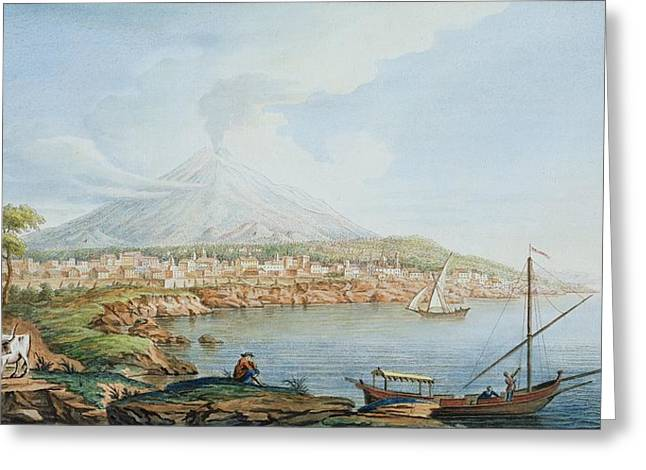 Italian Landscapes Drawings Greeting Cards - Mount Vesuvius, Plate 36 From Campi Greeting Card by Pietro Fabris