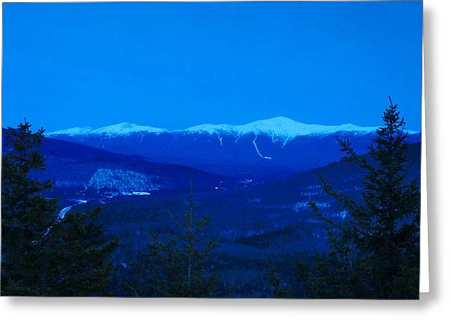 Presidential Photographs Greeting Cards - Mount Washington and the Presidential Range at Twilight from Mount Sugarloaf Greeting Card by John Burk