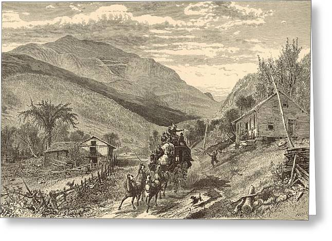 Mt Drawings Greeting Cards - Mount Washington from the Conway Road Greeting Card by Antique Engravings