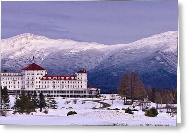 Snow Capped Greeting Cards - Mount Washington Hotel Winter Pano Greeting Card by Jeff Sinon