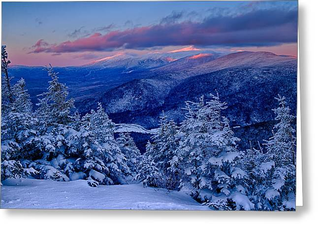 Mount Washington In The Evening Light From Mt Avalon Greeting Card by Jeff Sinon