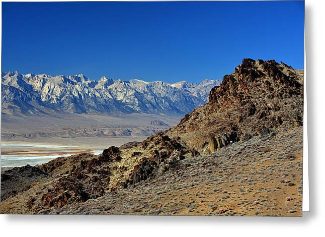 Mount Whitney Greeting Cards - Mount Whitney from the Inyo Mountains November 17 2014 Greeting Card by Brian Lockett