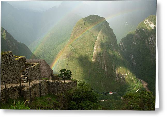 Rainbow River Greeting Cards - Mountain And Train Below Along Urubamba Greeting Card by Emily Riddell