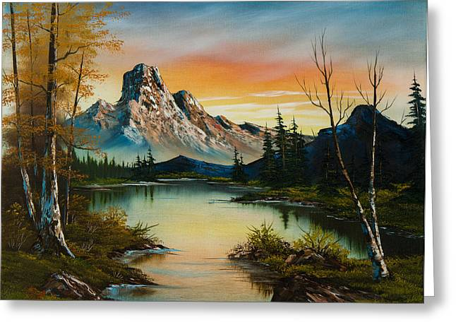 Bob Ross Paintings Greeting Cards - Sunset Lake Greeting Card by C Steele