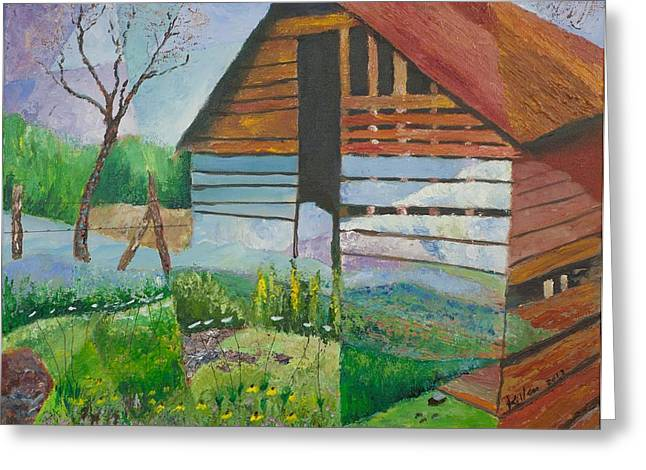 Mountain Barn Greeting Card by William Killen