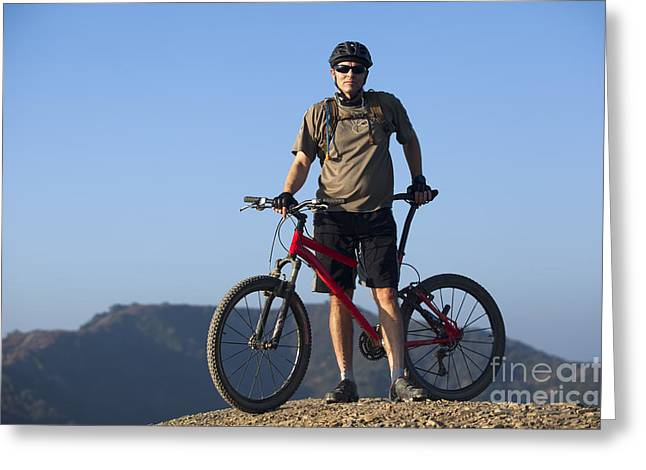 Mountain Biker Greeting Card by Mike Raabe