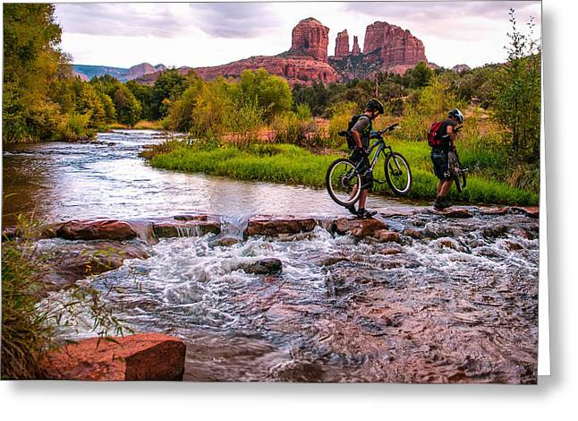 Cathedral Rock Greeting Cards - Mountain Bikers Crossing Cathedral Falls Greeting Card by Linda Pulvermacher