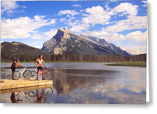 Two Bikes Greeting Cards - Mountain Bikers Vermilion Lakes Alberta Greeting Card by Panoramic Images