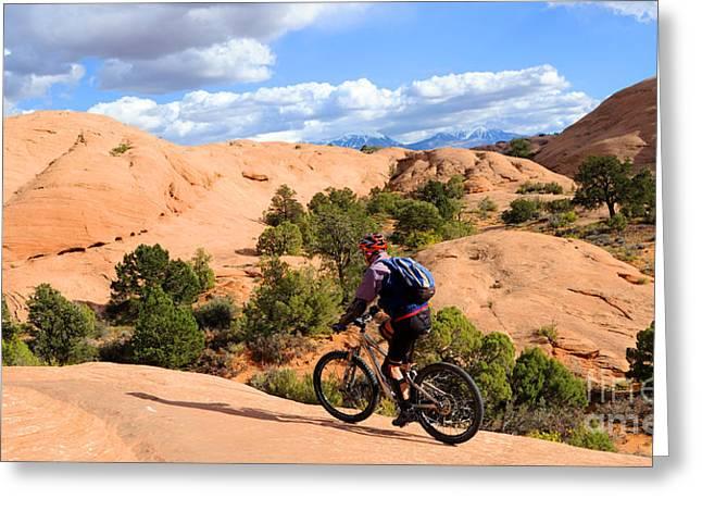 Slickrock Greeting Cards - Mountain Biking Moab Slickrock Trail - Utah Greeting Card by Gary Whitton