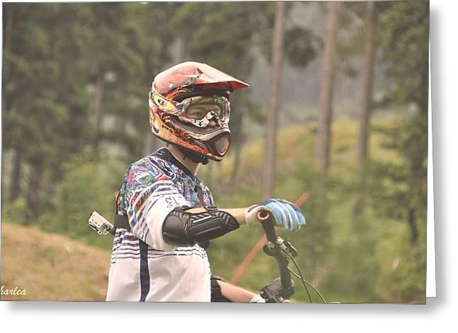 Go Pro Greeting Cards - Mountain Biking Greeting Card by Paula Sharlea
