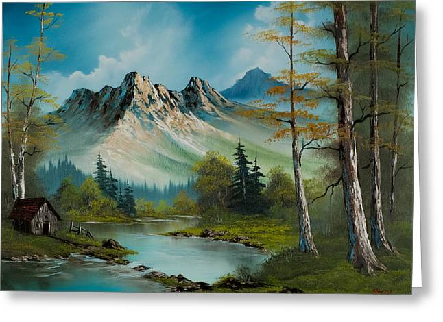Bob Ross Paintings Greeting Cards - Mountain Retreat Greeting Card by C Steele