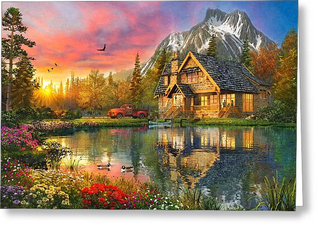 Mountain Cabin Greeting Card by Dominic Davison