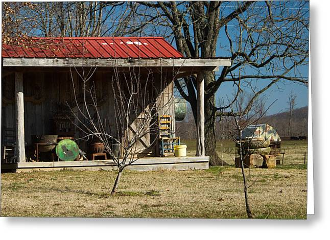 Saw Blade Greeting Cards - Mountain Cabin in Tennessee 1 Greeting Card by Douglas Barnett