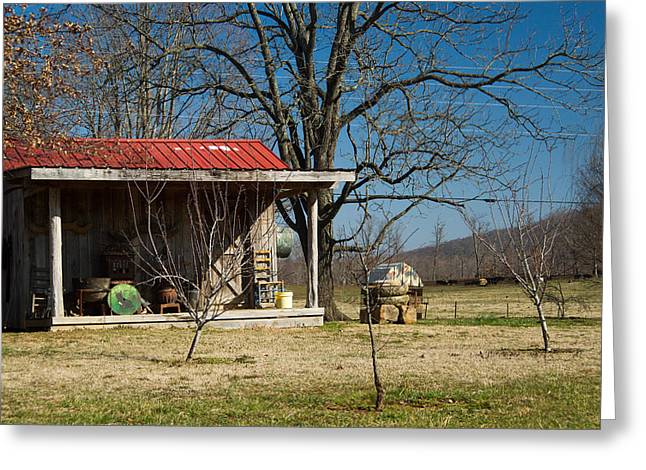 Saw Blade Greeting Cards - Mountain Cabin in Tennessee 2 Greeting Card by Douglas Barnett