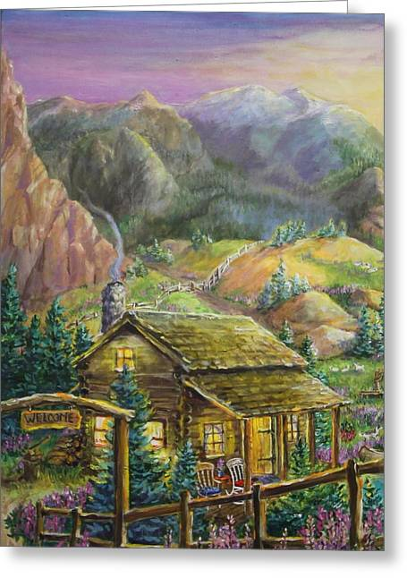 Sheep On Rocks Greeting Cards - Mountain Cabin Greeting Card by Jan Mecklenburg