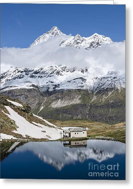 Valais Canton Greeting Cards - Mountain Chapel Greeting Card by Oscar Gutierrez