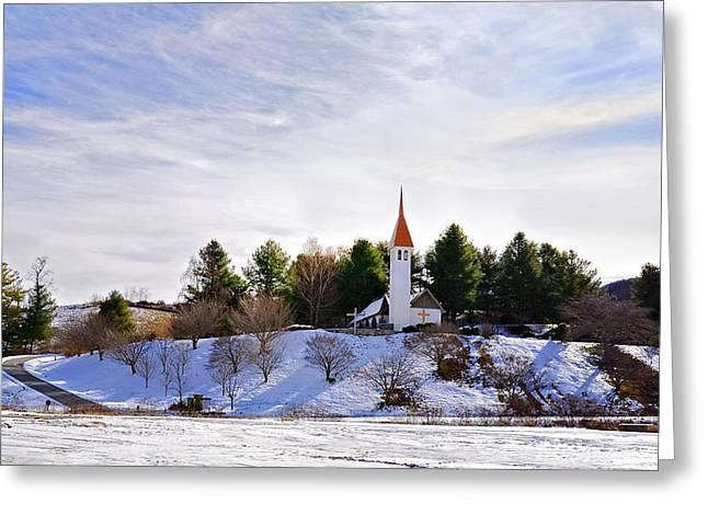 Mountain Church In Winter Greeting Card by Susan Leggett